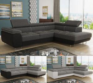 Ecksofa Caris mit Schlaffunktion & Kopfstüt Couchgarnitur Couch einstellbare
