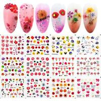 DIY Manicure Mixed Flowers Water Transfer Decal Nail Stickers Bloosm Designs