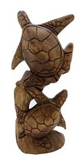 """Two Turtles Playing Hand Carved From Exotic Bali Hardwood 12 1/2"""" Tall"""
