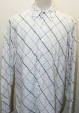 Tommy Hilfiger Men Long Sleeve Shirt Checkered White Blue Large  100% Cotton