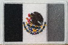 MEXICO FLAG Embroidered Iron-On PATCH MEXICAN Tactical EMBLEM Black & Gray #8