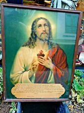 More details for vintage religious print jesus / 1930's framed print  of sacred heart of jesus