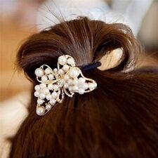 Crystal Rhinestone Pearl Flower Hair Band Rope Elastic Ponytail Holder BDAU