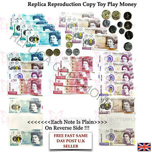 Children's Kids Replica Copy Play Pretend Toy Money Cash New £5 , £10 & £20 Note