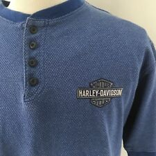 Harley-Davidson Henley Shirt Mens L Short Sleeves Blue Pullover