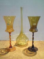 3 Vasen-Blumenvasen-Krüge-Lauschaer Glas-Orange-mundgeblasen-handgeformt