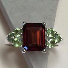 Natural Emerald Cut 8ct Fire Garnet Peridot 925 Solid Sterling Silver Ring 8.75