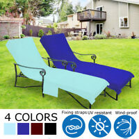 Pool Side Chaise Beach Pool Sun Lounge Lawn Patio Chair Cover w/ Pocket 4 Colors
