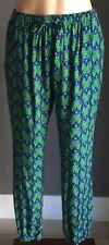 Retro NWOT UNIQLO Black, Green & Blue Floral Print Drape Jogger Pants Size 8-10