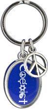 J238 - Coexist Oval Keychain Pendant - BLUE / Jewelry peace, tolerance