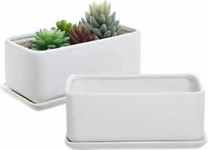 White Ceramic Rectangular Succulent Planter Pot w/ Removable Drip Tray, Set of 2
