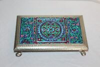 India Middle Eastern Footed Display Tray Mosaic Color Designs Metal Foil