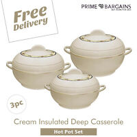 3pcs Hotpot Set Insulated Food Warmer Serving Bowl Thermal Casserole Hotpot Pan