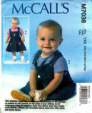 McCalls Sewing Pattern 7038 Baby Tops, Jumper, Overalls,Dress, Romper