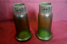 Pair of Iridescent Glass Vases with Pierced Metal Collars Jugendstil c1905