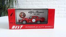 ALFA ROMEO TZ1 1963 ITALY SCALE 1/43 BEST MODEL NR 70 TARGA FLORIO `65 1570 CC