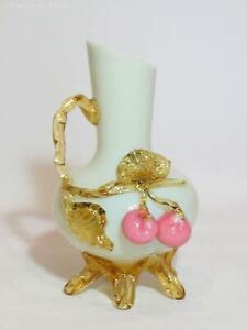 Milk Glass Mat-Su-No-Ke Vase with Cherries. EXCELLENT