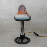 Antike Art Deko Tischlampe Lampenfuß aus Schmiedeeisen mit Glastulpe Handbemalt