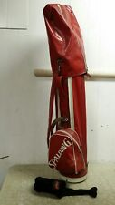 """Vintage Spalding 9"""" Red & White Vinyl & Leather Golf Bag with Rain Cover"""