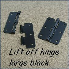 pair large lift off hinges for rack cases etc. -black
