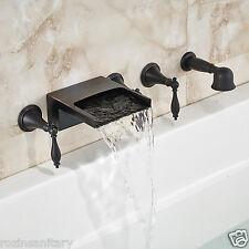 Oil Rubbed Bronze Waterfall Bathtub 5pcs Mixer Faucet W/ Hand Shower Wall Mount