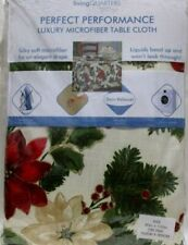 """Living Quarters Holiday Microfiber Tablecloth 70"""" Round Poinsettia Holly Greens"""