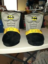 New Toddler Boys size 7/8 Batman Boot Slippers with Capes Hard Sole Easy On/Off