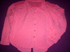 """""""H&M"""" Bluse. neon-orange mit Spitze, lange Ärmel, Gr. 128/134"""