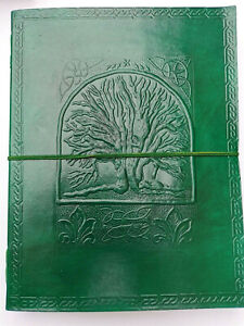 Lovely Green Tree large leather journal Book of Shadows Pagan Wiccan notebook A4