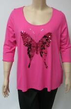 YOEK,HOLLAND,LARGE PINK TUNIC WITH SEQUINED BUTTERFLY DECORATION IN FRONT.