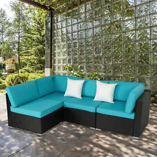 4 pcs Outdoor Patio Wicker Rattan Sofa Set Garden Couch Furniture w / 2 Pillows