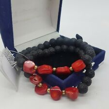 CORAL & Black Lava Stone Bracelets Stretch Bangles Red Beaded BNWT Boho Festival