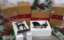 NIB SET of 4 Stocking Holders POTTERY BARN SANTA'S SLEIGH & REINDEER Christmas