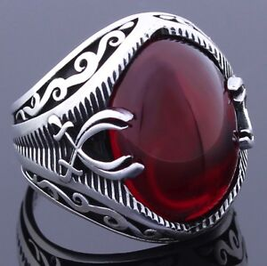 Solid 925 Sterling Silver Sword Oval Red Ruby Stone Men's Ring