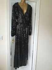 Lipsy Black Long Sleeve Sequin Maxi Dress Abbey Clancy Size 14