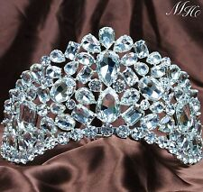 "Amazing Tiaras 3.5"" Clear Crystal Rhinestone Crowns Wedding Bridal Pageant Party"