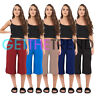 Womens Soft Jersey Ladies Baggy Culottes Plus Size Trousers Pants Flared Palazzo
