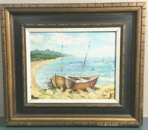 Vintage Seascape Oil Painting on Canvas of Two Boats & The Beach Painting #635