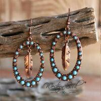 Vintage Turquoise 925 Silver Feather Ear Hook Dangle Drop Earrings Women Jewelry
