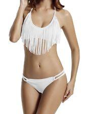 Zeraca Bikini Set L 16 18 Padded Fringe Halter Neck Top Strap Sides Brief White