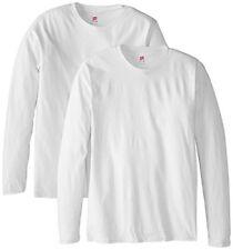 NEW Hanes Mens Long Sleeve Nano Cotton Premium T Shirt Pack of 2 White Large