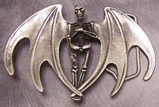 Pewter Belt Buckle novelty Winged Skeleton  NEW