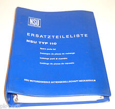 Ersatzteilliste Teilekatalog NSU Typ 110 Ausgabe 1965