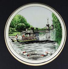 Lidded Trinket Powder Ceramic Box Boston Gardens Swan Boat Holland Polychroom