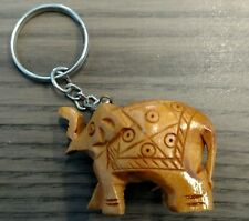 Hand Carved Wooden Elephant Good Luck Key Chain