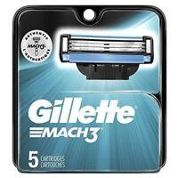 Men's Gillette Mach3 Razor Blade Cartridge Refills 5 Count Pack FACTORY SEALED