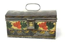 A Fine 19Th C Ct Paint Decorated Toleware Dome Top Document Box Original Paint