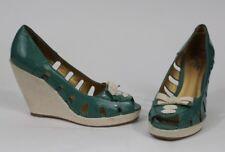 ANTHROPOLOGIE Seychelles Seafoam Patent Leather Wedge Sandals Size 8 Peep Toe