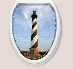 NEW Toilet Tattoos Lighthouse Removable Round Toilet  Lid Vinyl Decor - Nautical