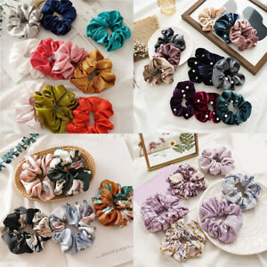 Chic Floral Printed Hair Ties Ponytail Scrunchie Chiffon Elastic Hair Rope Ring
